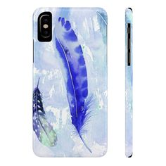 iPhone X Case, Blue Feather Art Case for Apple iPhone and Samsung Galaxy