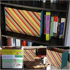 How to turn cardboard boxes into decorative storage boxes with fabric. http://www.betweenthelinesblog.net