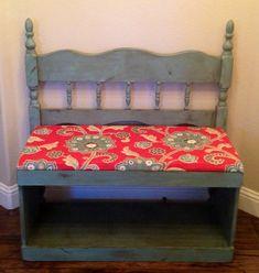 Repurposed headboard bench - All For Home İdeas Old Headboard, Headboard Benches, Bookcase Headboard, Headboard Ideas, Handmade Wood Furniture, Repurposed Furniture, Painted Furniture, Diy Furniture, Diy Bench Seat