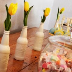 DIY rootbeer bottle flower vases.