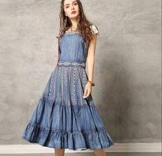 Shop Vintage Embroidered Falbala Denim Dress at EZPOPSY. Hip Bones, Jeans, Denim Fashion, Vintage Shops, Fashion Online, My Design, Fii, Casual, Pattern