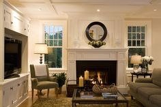 fireplace, mantle, built-ins, ceiling