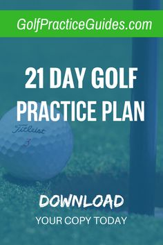 21 Day Golf Practice Plan for Beginners. Full of chipping drills, putting drills, worksheets, tips, and more. Download your copy today via the link plus hit the share button!