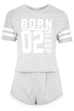 Born to Sleep Print Pyjama Set - Nightwear - Clothing