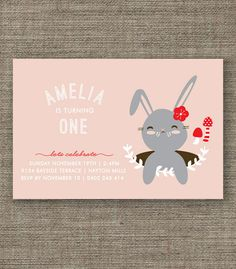 Bunny Rabbit Woodland Party Invitation for kids party, 1st 2nd 3rd 4th 5th girl birthday or Easter - pdf printable - pink, purple or green. $16.00, via Etsy.