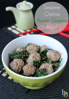 Sesame Quinoa Power Greens Bowl via Britt's Blurbs #easydinner #weeknightdinner #healthy