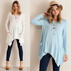SOMERLYN long sleeve top w pockets - 3 colors Solid long sleeve tunic top featuring side pockets and asym hem. Unlined. Non-sheer. Knit. Lightweight. 95%VISCOSE 5%SPANDEX.  AVAILABLE IN IVORY, BLUE AND PEAC. Made in USA  NO TRADE PRICE FIRM Bellanblue Tops Tees - Long Sleeve