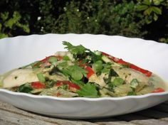 We ate this green curry last night. Im putting this on here, sos Tomoko whos living with us can have a copy of the recipe.