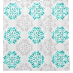 Gray Turquoise Modern Kaleidoscope Damask Pattern Shower Curtain - rustic country gifts style ideas diy