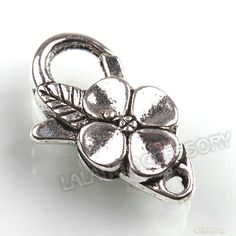 20x 160615 New Flower Antique Silver Plated Lobster Clasps Jewelry Finding 25mm