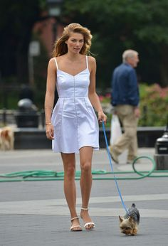 Who says you can't be fancy walking your dog? Lol. Jessica Hart