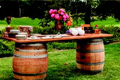 Wine Barrels Table Reception Archive Rentals