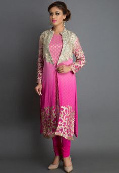 Embroidered Straight Cut Jacket Style Suit in Pink and Fuchsia