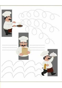 Cooking writing pattern for toddlers, restaurant theme, kindergarten teacher Petra, writing patterns Pizza Restaurant, Restaurant Themes, Pizzeria, Teaching Kids, Kids Learning, Pre Writing, Food Themes, Working With Children, Kids Education