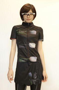 Black Tulip Short-Sleeved Women's Summer Cycling Jersey