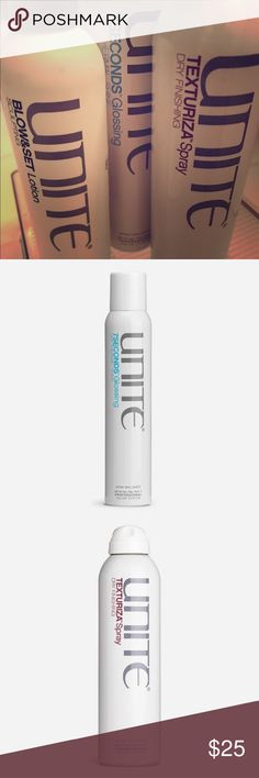Unite Haircare Line - sold separately or as a 3 Texturiza: $23 Texture. Volume. Fullness. This dry, translucent finishing spray will create unbelievable volume and texture in your hair that will last all day and into the night.   7SECONDS™ Glossing: $25.                  BLOW&SET™ Lotion: $22.                                             Please message me for product(s) of interest unite Accessories Hair Accessories