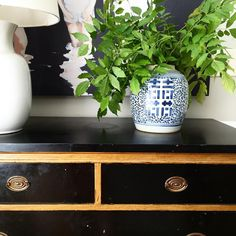 black and gold antique chest, blue and white jar, wisteria, styling