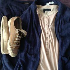 navy Phase 8 trousers, navy cardi, sand top by The Kooples, sand Geox sneakers The Kooples, Capsule Wardrobe, Trousers, Navy, Sneakers, Collection, Tops, Trouser Pants, Hale Navy