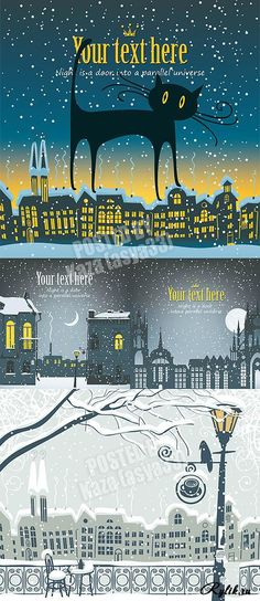 Зимний город - векторные рисунки. Winter houses and city