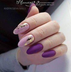 Foil Nail Designs, Best Nail Art Designs, Purple Nail Art, Purple Gold, Purple Manicure, Purple And Pink Nails, Gold Gel Nails, Matte Nails, Shellac