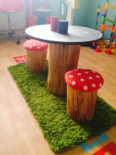 Toadstools! #grillodesigns #whimsical #diy #toadstools #seating #chalkboardtable