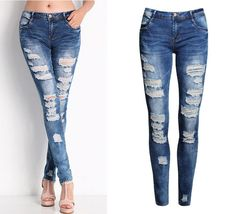 2045 New 2016 Hot Fashion Ladies Cotton Denim Pants Stretch Womens Bleach Ripped Skinny Jeans Denim Jeans For Female
