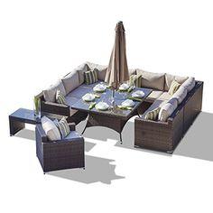 Rattan Outdoor Sofa Set Weave Modular Sofa Set Outdoor Garden Furniture / Conservatory Patio Furniture AURA 13