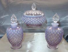 Vintage 40s Fenton Glass Violet Opalescent  Hobnail Perfume Powder Vanity