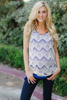 Royal Blue Lace Maternity Tank Top from PinkBlush Maternity www.pinkblushmaternity.com #maternity #fashion