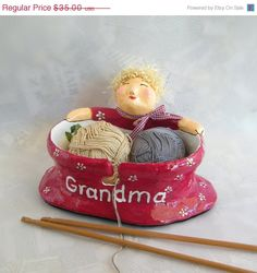 Christmas sale Personalized Yarn Bowl  Whimsical by RecycoolArt