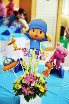pocoyo themed table centerpiece