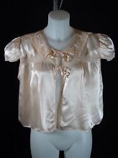 VTG Antique Silk Charmeuse Bed Jacket Beautiful Lingerie Softest Pink L - XL