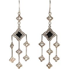 Pre-owned David Yurman Onyx & Diamond Quatrefoil Drop Earrings (3,635 CNY) ❤ liked on Polyvore featuring jewelry, earrings, david yurman jewelry, onyx earrings, round drop earrings, fringe earrings and fringe jewelry