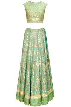 Aqua gota patti embroidered lehenga set available only at Pernia's Pop-Up Shop.