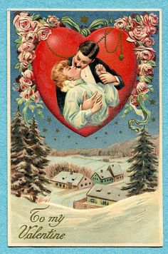 X0920 Valentines Day, Langsdorf, Man kissing woman, Snow scene, Langsdorf
