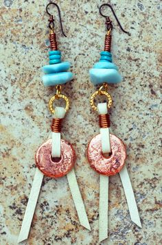 Hercules Earrings: Blue Amazonite, Turquoise, Leather and Copper Disc Dangle Earrings