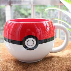 Japanese Cartoon Anime Game Pokemon Poke Ball Cosplay Handgrip Water Milk Tea Coffee Mug Cup Ceramic White&Red WLL9062