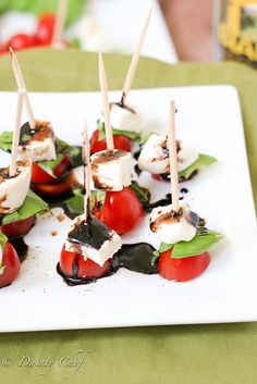 Caprese Bites with Balsamic Drizzle... I'm doing these inside out: Hollowed out cherry tomato with bits & pieces inside.