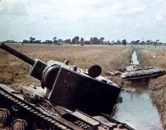 Stuck in the ditch KV-2 and T-34.