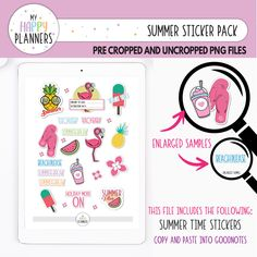 Happy Summer, Summer Time, Good Notes, Happy Planner, Cute Stickers, Planner Stickers, Marketing And Advertising, Pink Purple, Personal Planners