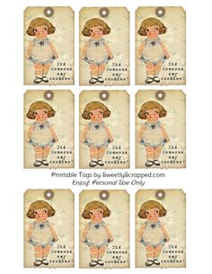 Sweetly Scrapped: Did Someone Say Cookies? Vintage Tags with Sweet Chubby Girl