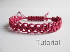 Étape de tutoriel rose Fermoir réglable noué des pdf macramé de la bracelet motif par étape débutant des bijoux faits main diy instructions ...