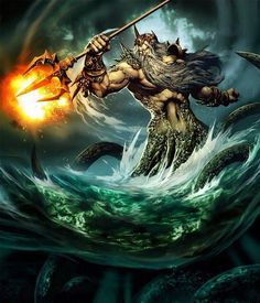 Poseidon, the god of the sea, horses, and earthquakes. I wonder why is trident his on fire...