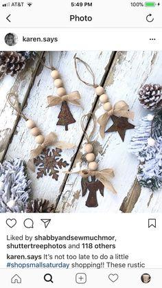 Christmas Ornaments To Make, Homemade Christmas, Rustic Christmas, Christmas Projects, Winter Christmas, Holiday Crafts, Christmas Holidays, Christmas Ideas, Navidad Natural