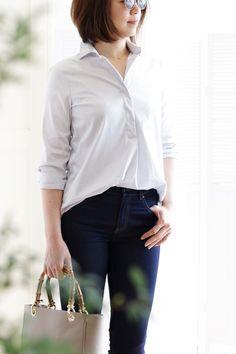 ファッション スタイル スナップ 白シャツ おしゃれ