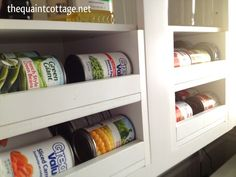Great Info on making your own canned storage organizers. The Quaint Cottage: DIY Can Good Storage