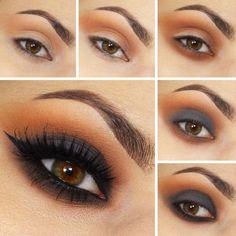 Maquillaje de ojos para noche en color café con negro
