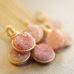 Beautiful Pink Druze Necklace in Gold from @Bareandme The perfect Bridesmaid or Mother of the Bride gift!