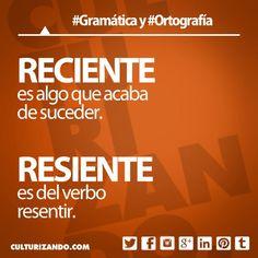 «reciente» es algo que acaba de suceder; «resiente» es del verbo resentir. #Gramática #Ortografía #Educación…
