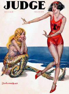 Vintage Magazine - Judge I adore the idea of a mermaid envying legs because they enable Charlestonning. Illustration Art Nouveau, Fun Illustration, Magazine Illustration, Bottomless Girls, Mermaid Tale, Mermaid Lagoon, Digital Print, Digital Image, Vintage Mermaid
